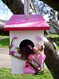 Cascading Hearts Decoupaged Mini Birdhouse