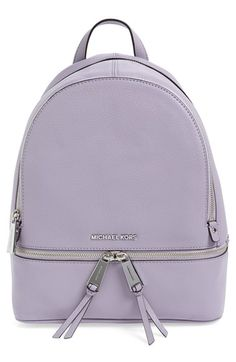 MICHAEL MICHAEL KORS 'Small Rhea Zip' Leather Backpack. #michaelmichaelkors #bags #leather #lining #backpacks Rucksack Bag, Backpack Bags, Leather Backpack, Leather Bags, Small Backpack, Fashion Backpack, Michael Kors Rucksack, Michael Kors Bag, Shoulder Strap Bag