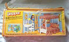 VTG-1975-Mattel-Growing-Up-Skipper-2-in-1-Bedroom-Playset-w-Original-Box-Barbie
