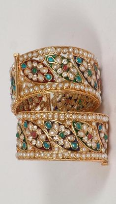 Kundan-And-Preal-Beaded-Gold-Bangles ♥✤ | KeepSmiling | BeStayBeautiful