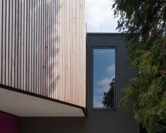 Vertical Cedar Cladding / Dark Grey Smooth Render