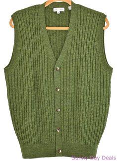 Peter Millar Sweater Vest Cable Knit Button Front Italian Wool Cardigan Green M  #PeterMillar #Cardigan
