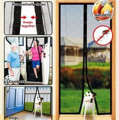 Mesh Curtain Net Double Door Magnetic Fly Screen Snap Shut 60/'/' X 80/'/' Insect
