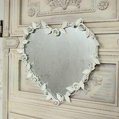 Crema floreale specchio a cuore vintage per la casa shabby chic accessorio   eBay