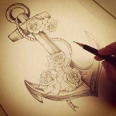 Anchor with flowers;Both my parents have passed away. Would get the anchor with purple roses as a representation of my mom and dad