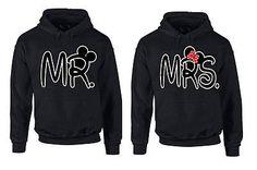 COUPLE HOODIE - Mr & Mrs - couple LOVE cartoon character hooded sweatshirt SET