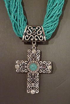 Cowgirl Bling Southwest CROSS Rhinestone TURQUOISE Multi str Bead necklace set #nena