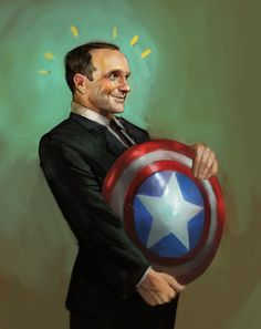 Fanboy Coulson, gettin' to hold Cap's shield. :D
