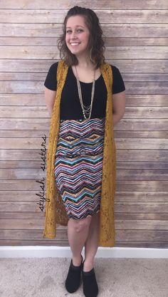 Cassie, classic, and joy vest! My favorite LuLaRoe combo! This outfit is amazing! This pencil skirt is the most comfortable one you'll ever own!