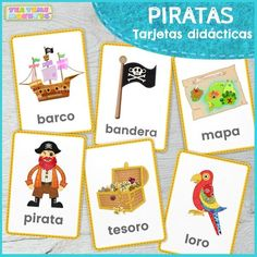 Use our free flashcards cards at school or at home to help teach your little ones reading and writing skills or for vocabulary games! There are six beautifully designed picture-word cards in this set: pirate, ship, treasure, map, parrot and flag. Pirate Treasure Game, Treasure Games, Vocabulary Games, Pirate Games For Kids, Pirate Words, Pirate Pictures, Flashcards For Kids, Preschool At Home, Pirates