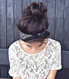 Messy Bun with Bandana