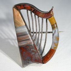 Rare Harp Shaped Mid-Victorian Scottish Agate Brooch c.1860 from Victoria Sterling Exclusively on Ruby Lane