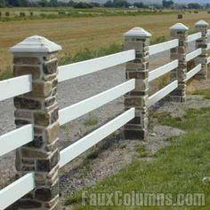 Design ideas fence posts on pinterest faux stone for River rock columns