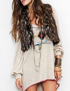Boho tunics + faux fur vests.
