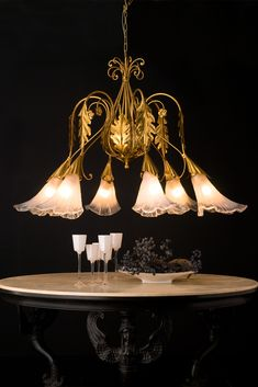 High End Designer Italian Murano Glass Lily Chandelier - Juliettes Interiors Wall Lights, Ceiling Lights, Luxury Lighting, Neoclassical, Furniture Collection, Murano Glass, Luxury Furniture, Decorative Bells, Interior Decorating