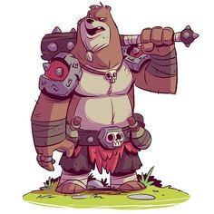 RuinWorld character design: Brewsiv is a former Bearzerker. Now one of Fargus' main henchmen. #ruinworld #characterdesign #bear #mangastudio #cintiq #dereklaufman