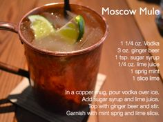 moscow mule (make with ginger ale from the taproom)
