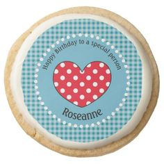 #white - #Birthday Polka Dot Love Heart Gingham Personalized Round Shortbread Cookie