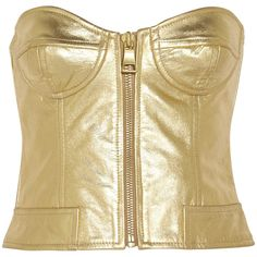 Boutique Moschino - Metallic Leather Bustier ($218) ❤ liked on Polyvore featuring tops, crop top, gold, moschino, going out crop tops, party crop tops, party tops, zip top and going out tops
