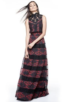 Alice + Olivia Briella Printed Lace Tiered Gown