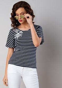 e66704c935e3a Navy Stripe Embroidered Jersey Top -