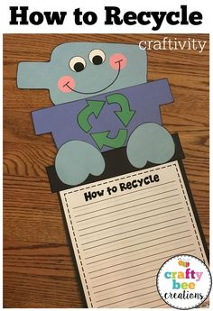This is a great craft activity for Earth Day.  Students in 1st, 2nd, and 3rd grade can talk about how they can recycle glass, paper, aluminum, etc.
