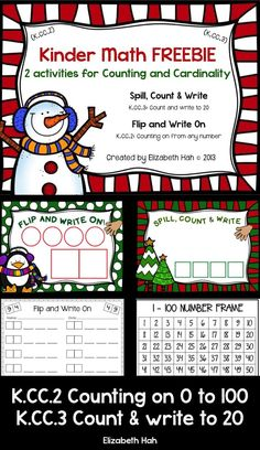 Kinder Math FREEBIE: 2 activities for Counting and Cardinality Kindergarten Math Activities, Fun Math, Math Resources, Teaching Math, Kindergarten Christmas, Christmas Math, Winter Activities, Teaching Tools, Maths
