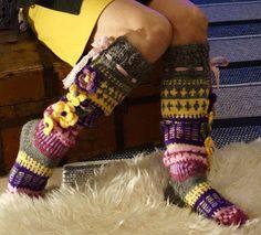 Ankortit: Sukkia ja aina vaan sukkia Crochet Socks, Knitting Socks, Leg Warmers, Slippers, Ankle, Flower, Winter, Knitting Loom Socks, Sneaker