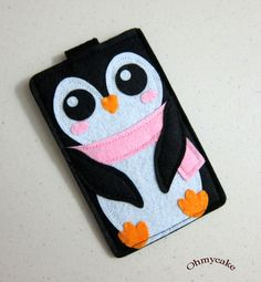 "With a violet scarf, please! - iPhone Case - Cell Phone Case - iPhone 4 Case - iPod Case - iPod Touch Case - Handmade iPhone Felt Case - "" Kawaii Penguin "" Design. $19.00, via Etsy."