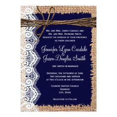 Rustic Country Burlap Lace Twine Wedding Invites Personalized Invite