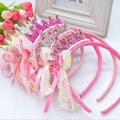 Nuevo 2016 Chicas Bandas de Pelo Accesorios de Perlas de Resina de Diamante de Encaje Arco de La Cinta Princesa Infantil Accesorios Para el Cabello Banda Para El Cabello