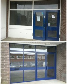 Before & after photo's of replacement aluminium shop front with anti sun glass # shopfront Front Windows, Windows And Doors, Shop Interior Design, Exterior Design, College Savings Plans, Japan Store, Before After Photo, Interior Stairs, Deck Plans