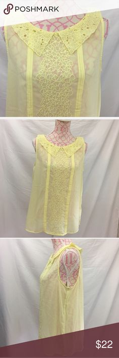 🎀$3 For $30 Lauren Conrad Top Size Large Lauren Conrad yellow sheer top. Ruffled collar. Sleeveless. Key hole back. Excellent condition. Size large. Bust approximately 40 inches. Length approximately 27 1/2 inches. 100% polyester. LC Lauren Conrad Tops Blouses