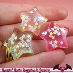 PUFFY GLITTER STARS Kawaii Cabochons / Flatback Resin Decoden Cabochons (6 pieces) on Etsy, $3.95