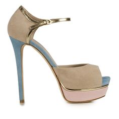 Le Silla - Sandal In Velour, Suede Calfskin With Colour Mix Of Cream, Sky Blue And - http://womenspin.com/shoes/le-silla-sandal-in-velour-suede-calfskin-with-colour-mix-of-cream-sky-blue-and/