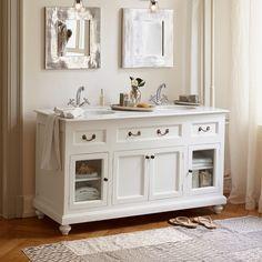 Waschtisch landhaus eiche  Waschtisch aus Eiche massiv. Doppelwaschtisch. | Badezimmer ...