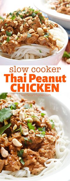 Slow Cooker Thai Chicken with Peanut Sauce ~ features tender chicken stewed in a flavor-infused coconut milk/peanut sauce, served over rice or rice noodles, and garnished with chopped peanuts and cilantro. Love this slow cooker chicken recipe. Slow Cooker Thai Chicken, Thai Peanut Chicken, Crock Pot Slow Cooker, Crock Pot Cooking, Crockpot Meals, Peanut Butter Chicken Recipe Crockpot, Chicken In Coconut Milk, Cooking Kale, Slow Cooker Thai Curry