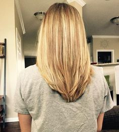 V shape in the back with some long layers!