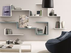 Wooden wall shelf ZEDLINE by Euromobil design Leonardo Zen