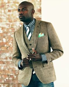 Pair a matching vest and blazer with jeans