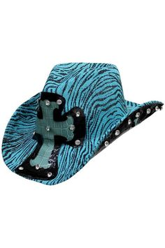 Black & White Zebra Stripe Cowboy Hat With Cross Zebra Party, Cowgirl Hats, White Zebra, Wide-brim Hat, Cross Designs, Party Hats, Zebra Print, Turquoise, Shoe Bag