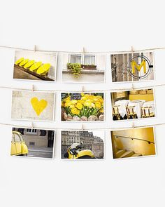 SUMMER SALE! SAVE 30% WITH CODE: AUG16  PARIS IN COLOR POSTCARDS: YELLOW This set of nine 4x6 art prints is printed on beautiful, heavy matte paper thats suitable for framing or mailing. Great as affordable wall art or sending to friends. As seen in my bestselling book, Paris in Color (Chronicle Books). See all 10 colors here: http://etsy.me/2apTb3O Buy all 10 colors and save 50%: http://etsy.me/2aqTXkF  About Paris in Color The Paris Color Project celebrates the city's intimate details…