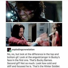 Bucky Barnes fighting vs the Winter Soldier / One's cold and calculating and the other is raw and emotional. One is a wonderful human; the other is a misdirected robot in that precious human's body. Marvel Memes, Marvel Avengers, Marvel Comics, Marvel Facts, Young Avengers, Avengers Memes, Marvel Funny, Sebastian Stan, Winter Soldier Bucky