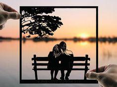 Romantic Evening Handmade Original Paper Cut First Wedding Anniversary Personalized Gift: Hand-Cut Paper Art Silhouette (UNFRAMED) Unique Wedding Gifts, Personalized Wedding Gifts, Gift Wedding, Wedding Paper, Sunset Silhouette, First Wedding Anniversary, Paper Anniversary, Husband Anniversary, Romantic Evening