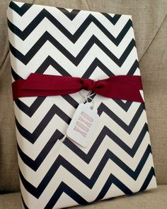 Chevron Black and White Patterned Wrapped Paper for Small Gift