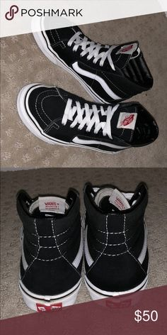 ba70c673be6 SK8-HI (Black and White High-top VANS) Woman s size  6