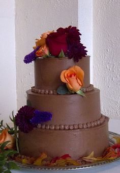Chocolate Buttercream Wedding Cake! love this... almost exactly what i imaged.