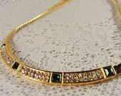 1980s GIVENCHY Paris New York Signed Emerald Diamonte Gold Tone Choker Necklace
