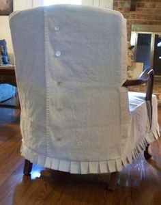 slipcover Could do ties instead of buttons for LR chair