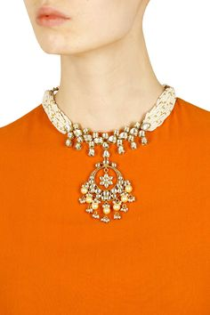 Gold finish pearl beaded and kundan stone necklace available only at Pernia's Pop Up Shop.